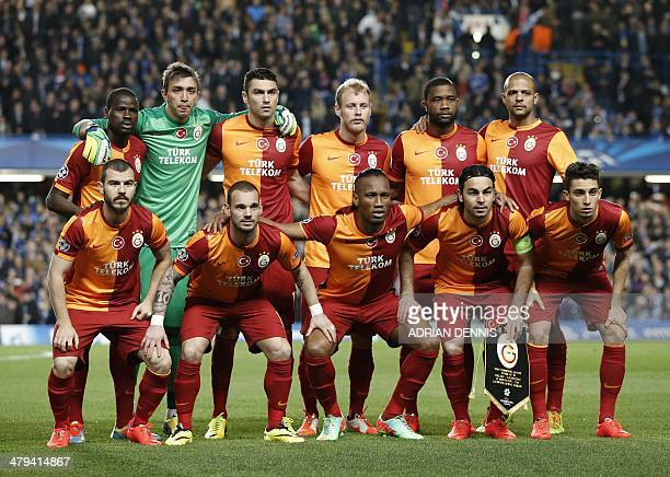 The Galatasaray team gather for a photograph before the start of the UEFA Champions League round of 16 second leg football match between Chelsea and...