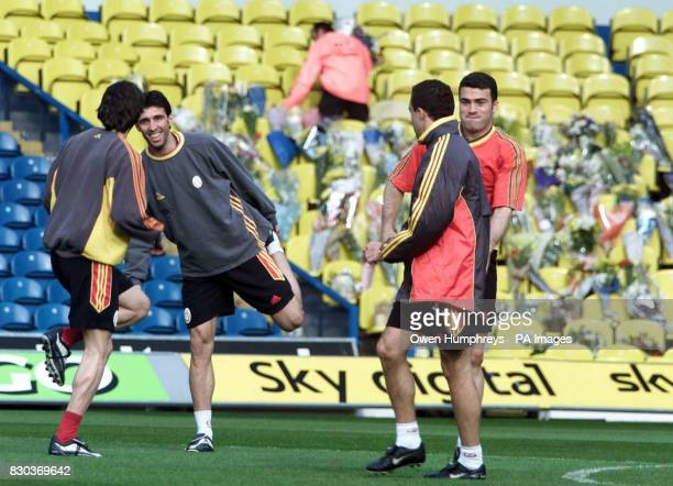 The Galatasaray team train among floral tributes at Leeds United's Eland Road ahead of their return UEFA Cup football match against Leeds United West...