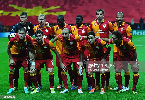 The Galatasary Team line up during the UEFA Champions League Group H match between Galatasaray and Manchester United at the Turk Telekom Arena on...