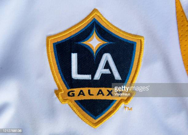 The LA Galaxy club crest on their shirt on March 16, 2020 in Manchester, England.