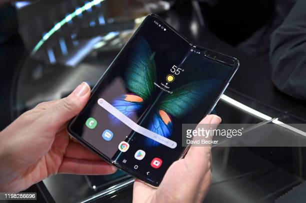 The Galaxy Fold 5G is displayed at the Samsung booth during CES 2020 at the Las Vegas Convention Center on January 8, 2020 in Las Vegas, Nevada. CES,...