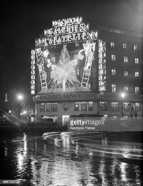 The Galeries Lafayette department store's illuminations in November 1929 in Paris France