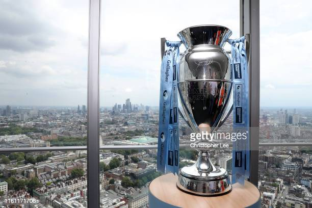 The Gallagher Premiership Trophy during the Gallagher Premiership Rugby Fixtures Launch at BT Tower on July 10, 2019 in London, England.