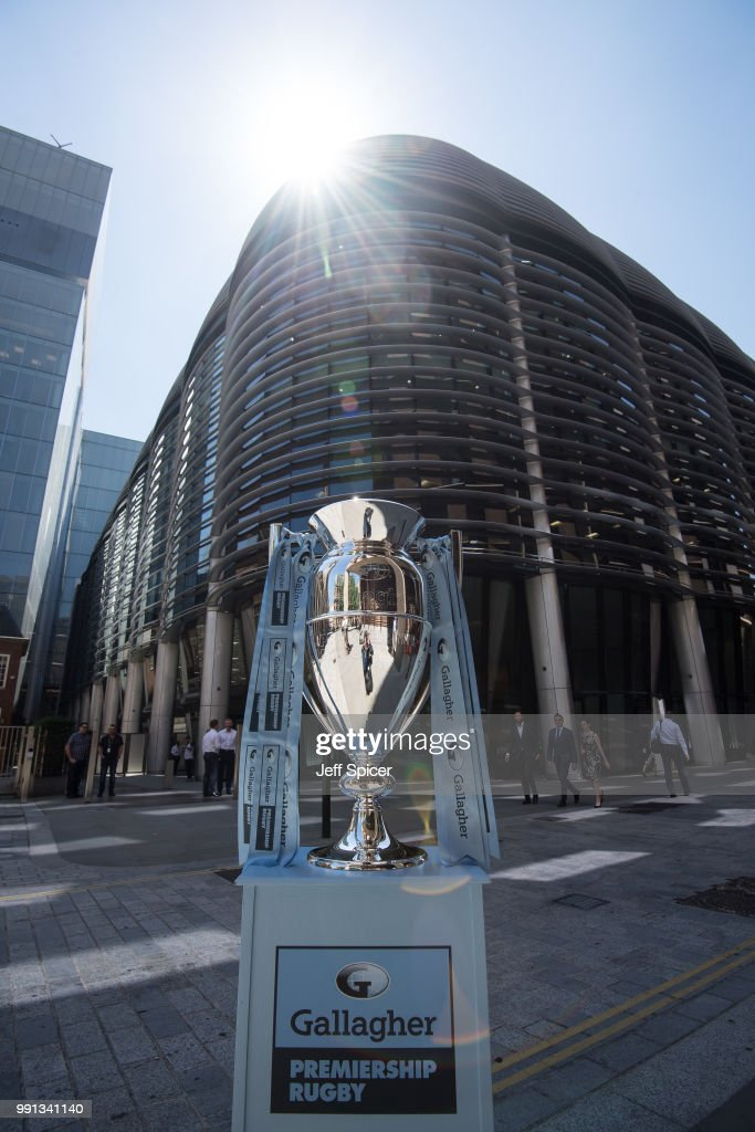 The Gallagher Premiership Trophy is displayed at the Gallagher offices on June 26, 2018 in London, England. The fixtures for the 2018-2019 Gallagher Premiership Rugby season will be announced on Friday, 6th July.