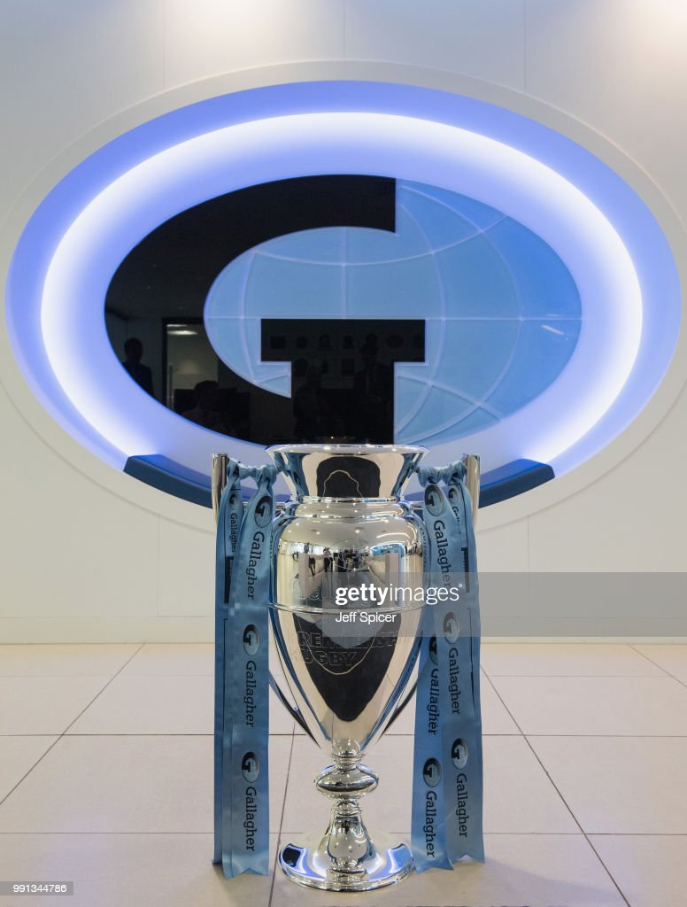 The Gallagher Premiership Trophy is displayed at the Gallagher offices on June 26, 2018 in London, England.The fixtures for the 2018-2019 Gallagher Premiership Rugby season will be announced on Friday, 6th July.