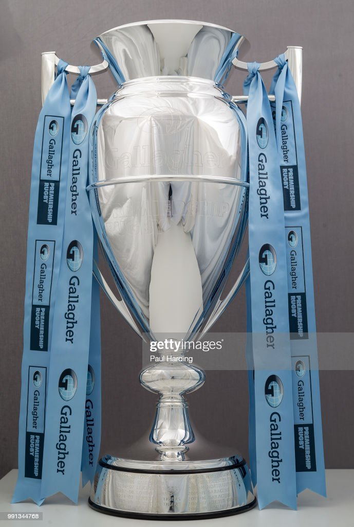 The Gallagher Premiership Trophy is photographed on June 28, 2018 in Twickenham, England. The fixtures for the 2018-2019 Gallagher Premiership Rugby season will be announced on Friday, 6th July.