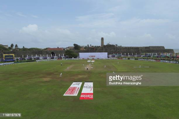The Galle International Stadium is pictured during the second day of First Test match between Sri Lanka and New Zealand at Galle International...