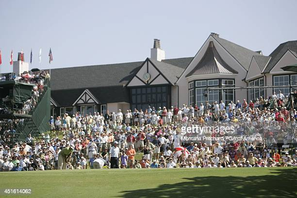 The gallery around 9 green behind the clubhouse during Round 3 of the 89th PGA Championship held at Southern Hills Country Club in Tulsa Oklahoma...