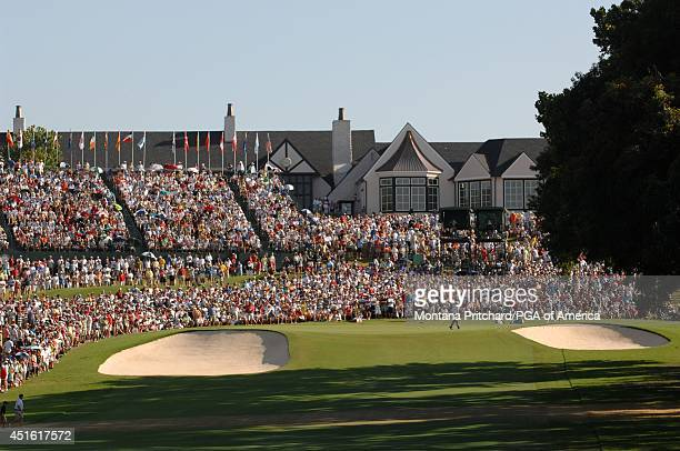 The gallery around No 18 green during the Final Round of the 89th PGA Championship held at Southern Hills Country Club in Tulsa Oklahoma Sunday...