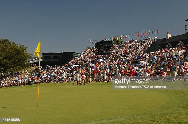The gallery around No 9 green during the Final Round of the 89th PGA Championship held at Southern Hills Country Club in Tulsa Oklahoma Sunday August...