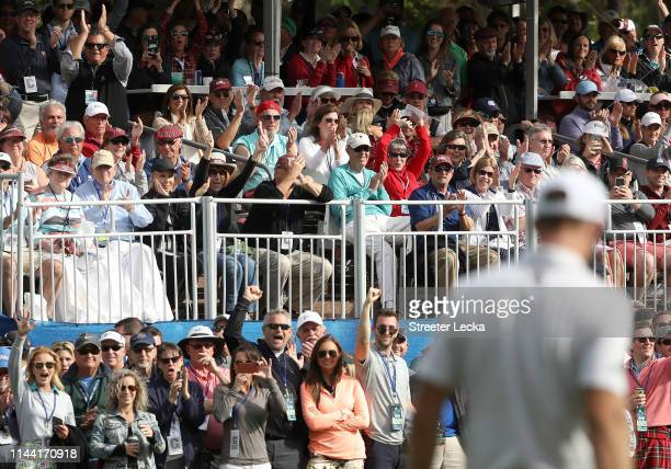The gallery cheers on Dustin Johnson on the 17th green during the third round of the 2019 RBC Heritage at Harbour Town Golf Links on April 20 2019 in...