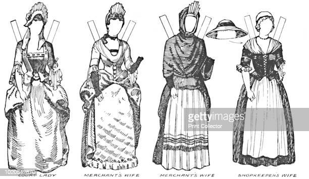 Some of the Dresses Worn in Anne's Reign' circa 1934 Illustration of costume during the reign of Queen Anne Instructions are given in the...