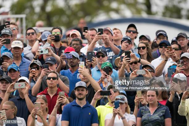The gallery on the first hole during the final round of the 101st PGA Championship held at Bethpage Black Golf Course on May 19 2019 in Farmingdale...