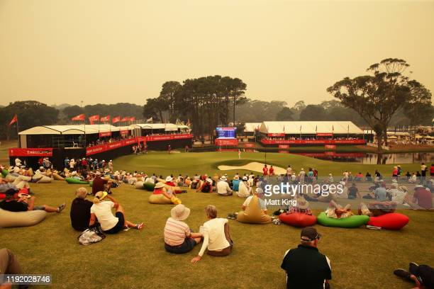 The gallery watches the action on the 18th green during day one of the 2019 Australian Golf Open at The Australian Golf Club on December 05 2019 in...