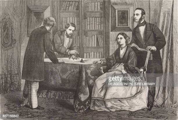 The Galliera BrignoleSale family signing the act of the Palazzo Rosso donation to the city of Genoa Italy drawing by Tofani illustration from Nuova...
