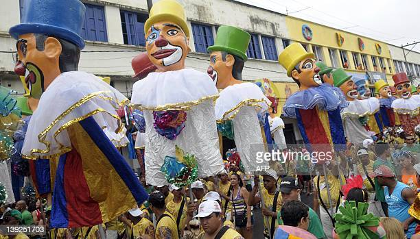 The Galo da Madrugada street carnival band parades with frevo music as background on February 18 2012 in Recife northeastern Brazil The frevo style...