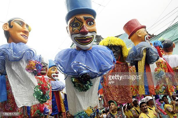 The Galo da Madrugada street carnival band parades with frevo music as background on February 18 2012 in Recife northeastern Brazil The frevo is...