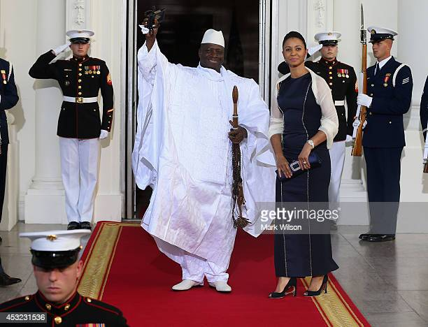 The Gambia President Yahya AJJ Jammeh and spouse Zineb Jammeh arrive at the North Portico of the White House for a State Dinner on the occasion of...