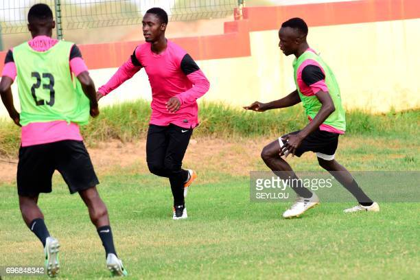 The Gambia's midfielder Ablie Jallow trains at the Generation Foot Academie football academy on June 14 2017 in Deni Biram Ndao eastern Dakar...