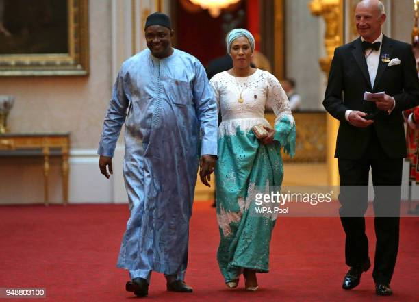 The Gambia's President Adama Barrow arrive to attend The Queen's Dinner during The Commonwealth Heads of Government Meeting at Buckingham Palace on...