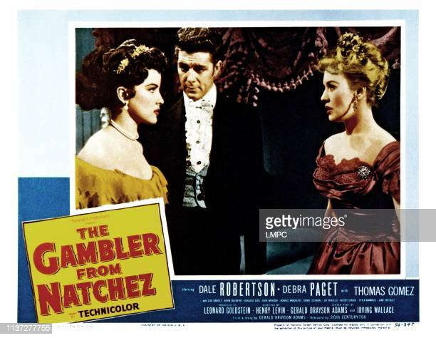 The Gambler From Natchez lobbycard from left Debra Paget Dale Robertson Lisa Daniels 1954