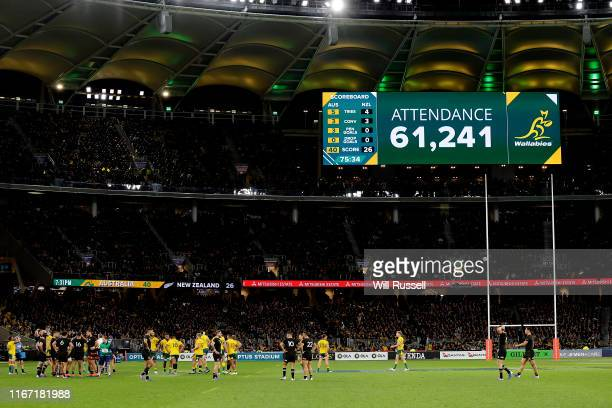 The game attendance can be seen on the LED screen during the 2019 Rugby Championship Test Match between the Australian Wallabies and the New Zealand...