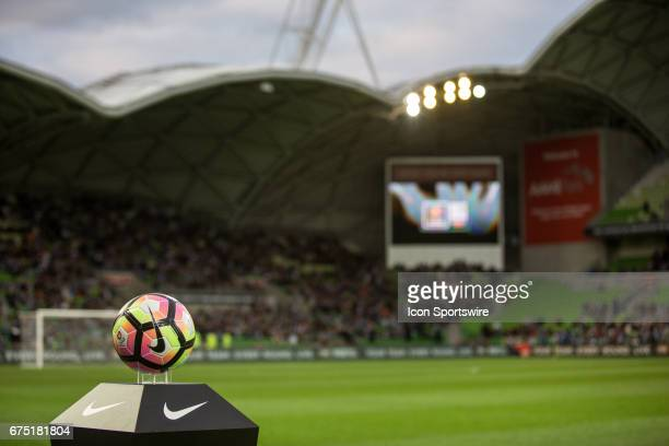 The game ball in place before kickoff during the Semi Final Match of the Hyundai ALeague Finals Series between Brisbane Roar and Melbourne Victory on...