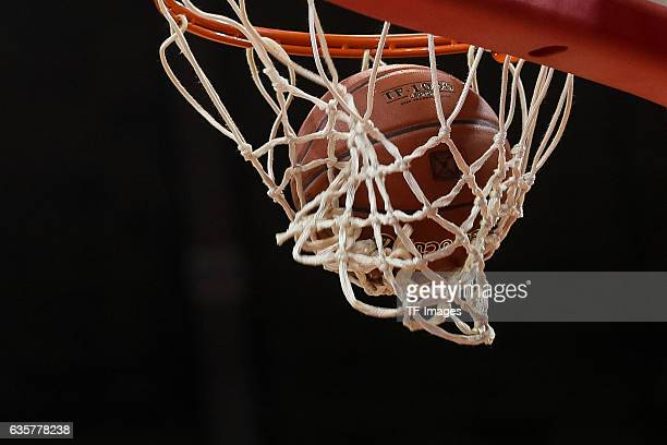 The game ball is seen during the Eurocup Round 10 Basketballl match between FC Bayern Muenchen and Buducnost Voli Podgorica at Audi Dome on December...