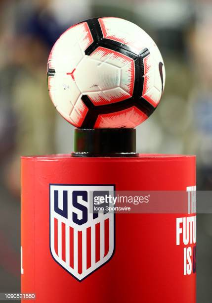 The game ball rests on a stand before the international friendly between the United States Men's National Team and Panama on January 27th 2019 at...
