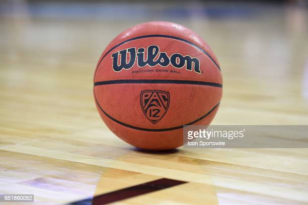 The game ball sits on the court before the quarterfinal game of the Pac12 Tournament between the Arizona State Sun Devils and the Oregon Ducks on...