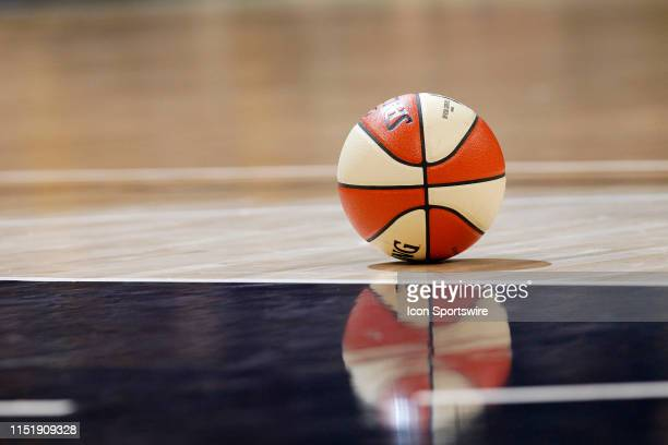 The game ball sits on the court during a break in the action during the game between the Minnesota Lynx and Indiana Fever June 25 at Bankers Life...