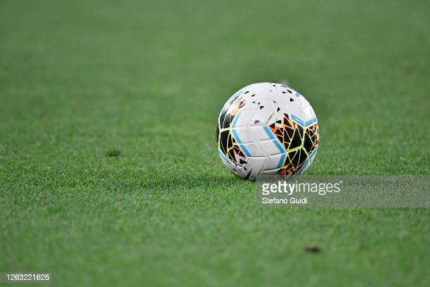 The game ball sits on the field during the Serie A match between Juventus and AS Roma at Allianz Stadium on August 1, 2020 in Turin, Italy.