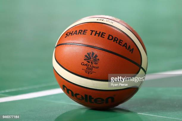 The game basketball is seen during the Men's Gold Medal Basketball Game between Australia and Canada on day 11 of the Gold Coast 2018 Commonwealth...