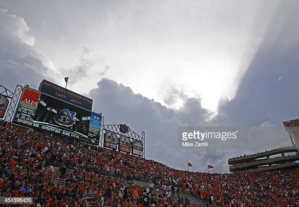 The game between the Auburn Tigers and Arkansas Razorbacks was delayed in the fourth quarter due to inclement weather at Jordan Hare Stadium on...