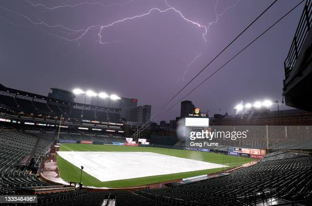 The game between the Baltimore Orioles and the Detroit Tigers is in a rain delay at Oriole Park at Camden Yards on August 10, 2021 in Baltimore,...