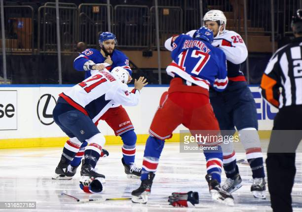 The game between the Washington Capitals and the New York Rangers starts with a line brawl one second into play at Madison Square Garden on May 05,...