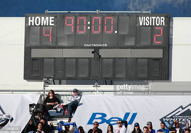 The game clock shows the final score in the MLS game between the Toronto FC and the Vancouver Whitecaps FC on March 19 2011 in Vancouver British...