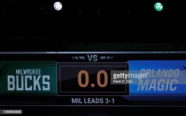 The game clock sits at 0.0 after the scheduled start time of Game Five of the Eastern Conference First Round between the Milwaukee Bucks and the...