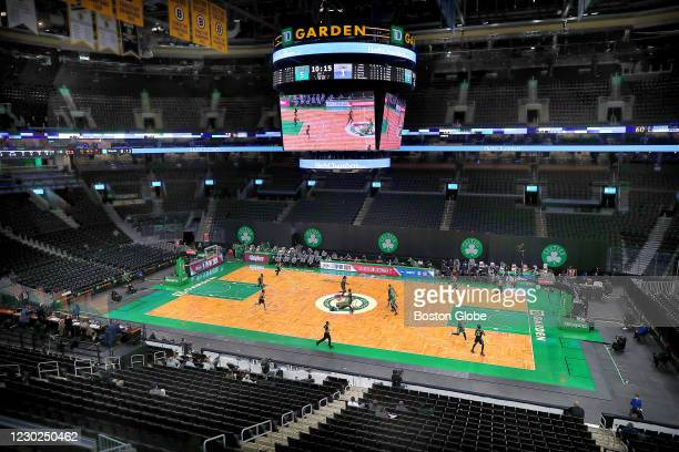 The game is played before an empty house. The Boston Celtics host the Brooklyn Nets in a preseason NBA game at TD Garden in Boston on Dec. 18, 2020.
