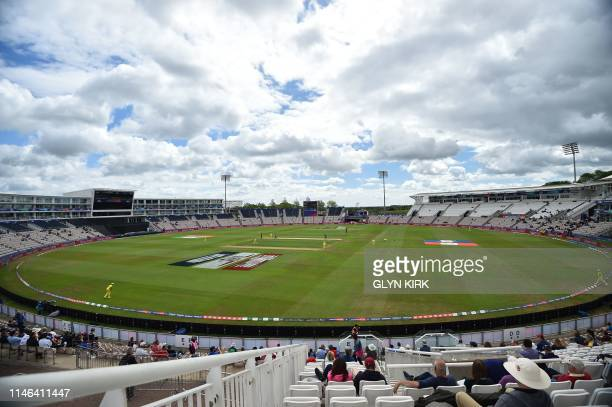 The game is played under cloudy a sky during the 2019 Cricket World Cup warm up match between Australia and Sri Lanka at the Rose Bowl in Southampton...
