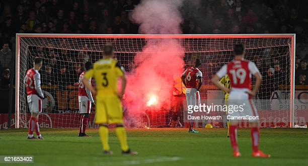 The game is stopped for a second flare on the pitchThe game is stopped for a second flare on the pitch during the The Emirates FA Cup First Round...