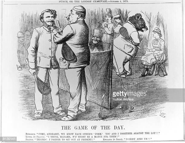 'The Game Of The Day' a cartoon by Tenniel published in Punch 4th October 1879 showing relations between the European powers in terms of a tennis...