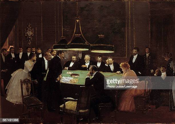 The Game Room Croupiers and men in dark suits around a gaming table playing roulette in a casino Painting by Jean Beraud 1889 038 x 053 m Carnavalet...