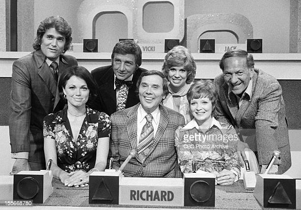 GAME '73 the game show From left back row Michael Landon Richard Dawson Vicki Lawrence and Jack Klugman Jo Ann Pflug host Gene Rayburn and Anita...