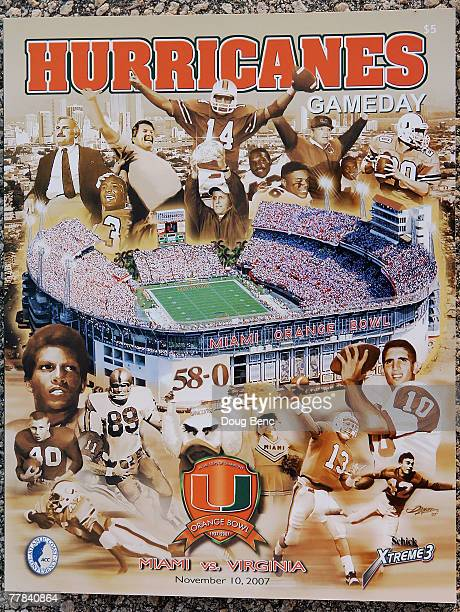 The Gameday program for the last college football game played in the Orange Bowl as the Virginia Cavaliers take on the Miami Hurricanes at the Orange...