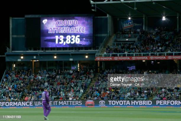 The games attendance is shown on the scoreboard during the Big Bash League match between the Hobart Hurricanes and the Adelaide Strikers at UTAS...