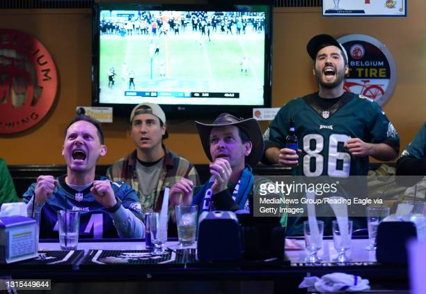 The games was the center of attention at the Pike Cafe in Reading, one of a number of local bars that opened early to accommodate Philadelphia Eagles...