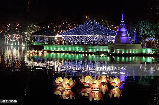 The Gangaramaya Buddhist Temple is lit during the annual Buddhist festival of Vesak in Colombo on May 4 2015 Sri Lankan Buddhists are celebrating...