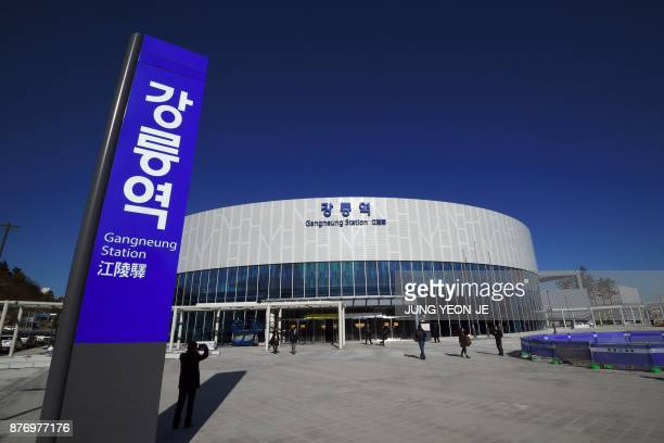 The Gangneung station is seen during a press tour of the new train line for the upcoming 2018 PyeongChang Winter Olympics in Gangneung an Olympic...