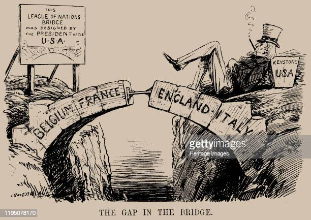 The Gap in the Bridge. Cartoon on the absence of the USA in the League of Nations. Punch, 10 December 1919, 1919. Private Collection. Artist...